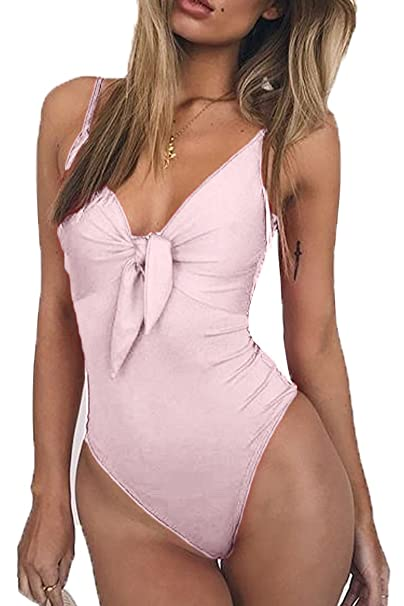 e2ea114d7eb32 ESONLAR Women V Neck High Cut One Piece Beachwear Push Up Monokini Swimsuit  Pink L
