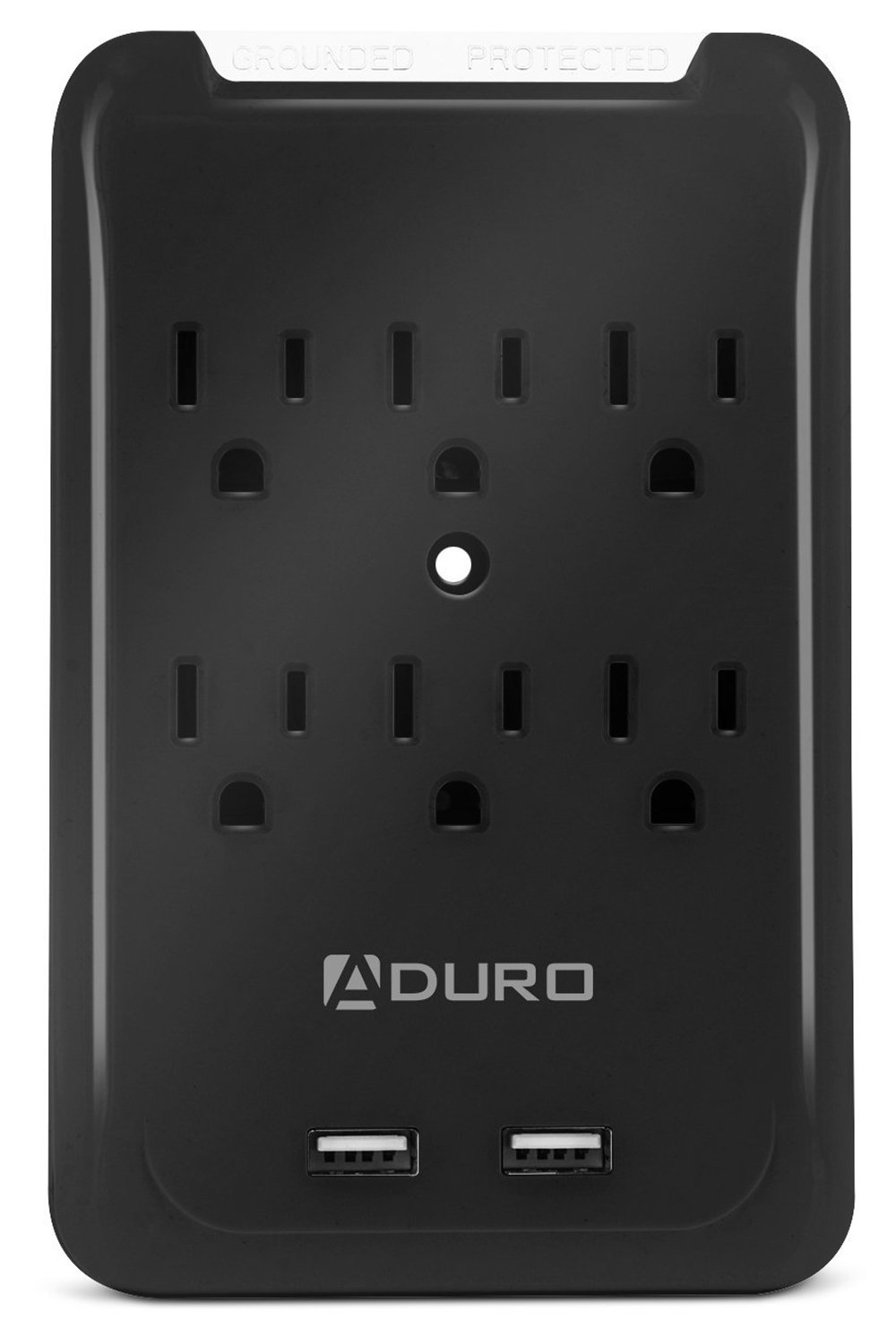 Aduro Surge Multi Charging Station w/6 AC Outlets & Dual USB Ports for iPhone, Android, MP3 Players & other USB Enabled Devices (Black)