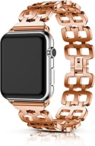 ANCOOL Women Bracelet Compatible with Apple Watch Bracelet 44mm for Women Girls Stainless Steel Link Band Jewelry Wristband Replacement for Apple Watch Series 5/4/3/2/1 (44mm, Pink Gold)