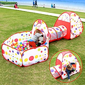 EocuSun Kids Play Tent,Ball Pit Tent with Crawl Tunnel