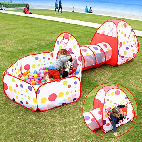 EocuSun Polka Dot Folding Kids Play Tent with Tunnel & Ball Pit