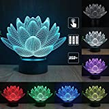 Gift Ideas Lotus Night Lights 3D Illusion lamp Animal Light Led Desk Lamps Unique Anniversary Gifts for Baby Home Decor Office Bedroom Wedding Party Decorations Nursery Lighting 7 Color (lotus)
