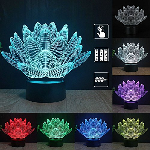 Gift Ideas Lotus Night Lights 3D Illusion lamp Animal Light Led Desk Lamps Unique Anniversary Gifts for Baby Home Decor Office Bedroom Wedding Party Decorations Nursery Lighting 7 Color (lotus) ()