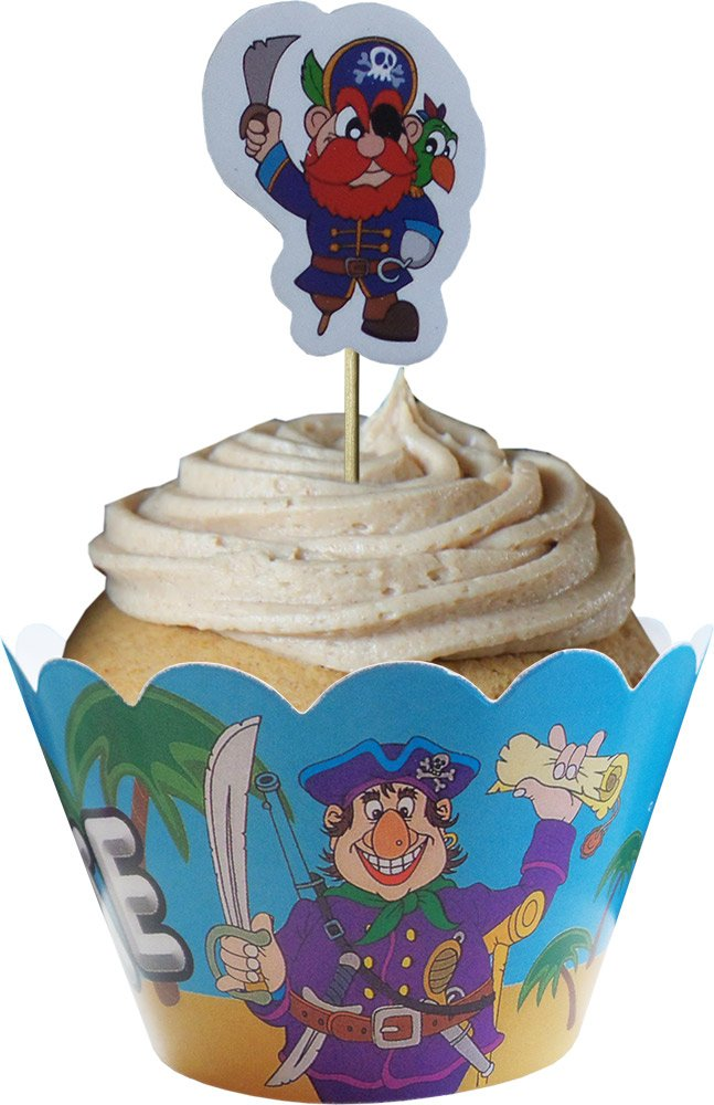 Pirates Cupcake Wraps and Toppers (12 Wraps & 12 Toppers Supplied) Party2u