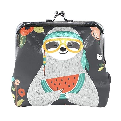 Amazon.com: Bonito bolso de piel floral con cierre de moneda ...