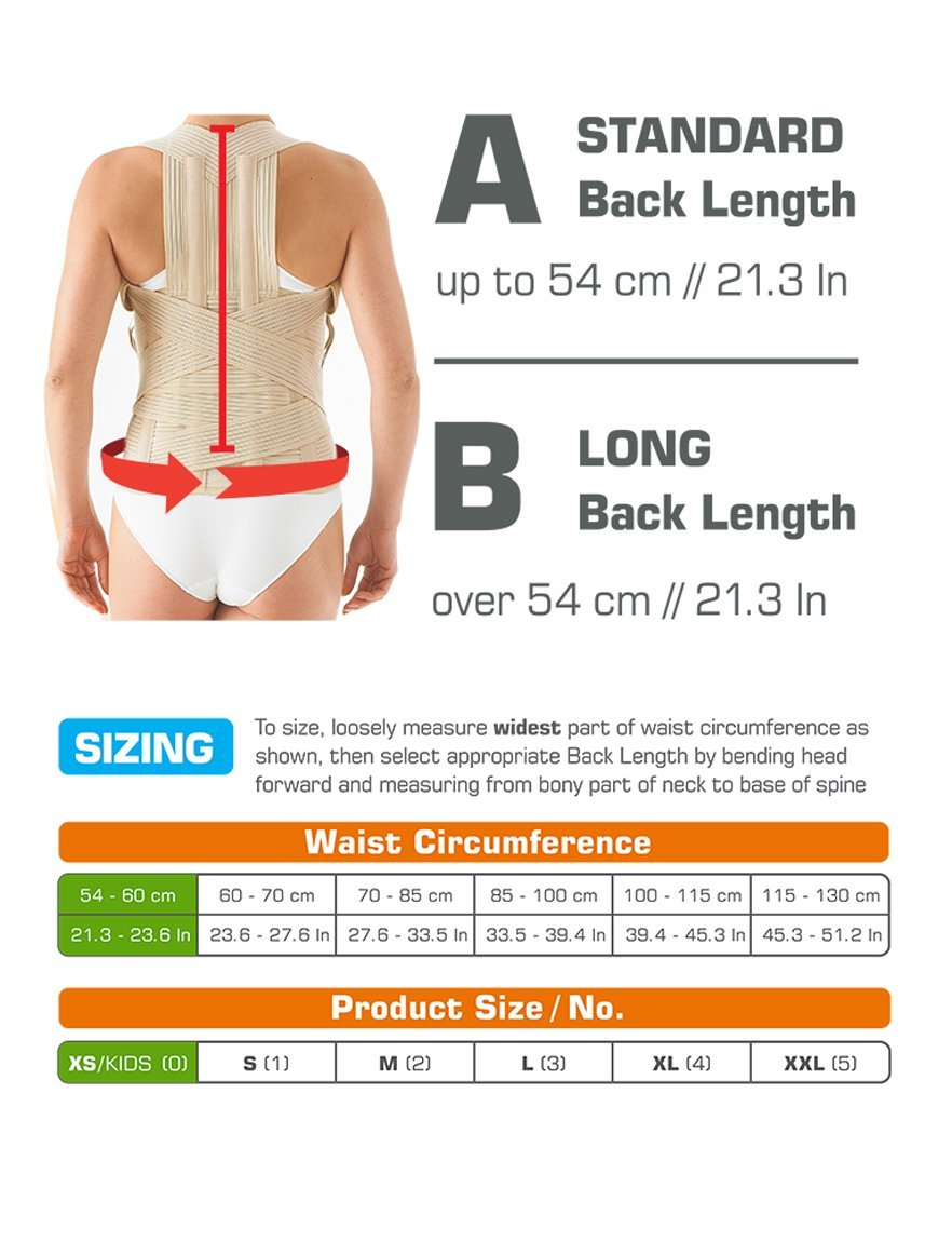Neo G Dorsolumbar Support Brace - Back Support for Early Kyphosis, Rounded Shoulders, Posture Correction, Muscular Aches, Lumbar Support - Fully Adjustable - Class 1 Medical Device - Small - Long
