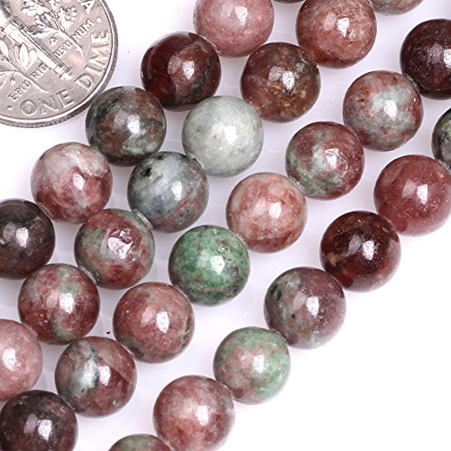 GEM-inside Natural 8mm Round Natural Red Kasgar Garnet Beads for Jewelry Making Strand 15