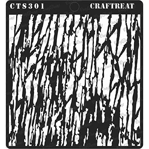 CrafTreat Stencil - Tree Bark - Reusable Painting Template for Journal, Notebook, Home Decor, Crafting, DIY Albums, Scrapbook and Printing on Paper, Floor, Wall, Tile, Fabric, Wood 6x6 inches