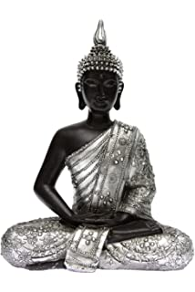 Statue Bouddha Statuette Boudha Assis Argent Vieilli Hauteur 29 Cm