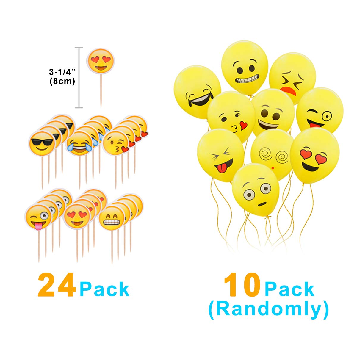 MelonBoat Emoji Party Supplies Birthday Decorations Kit, Plates, Napkins, Tablecloth, Popcorn Boxes, Cake Toppers, Banners, Latex Balloons, 102 ct, ...