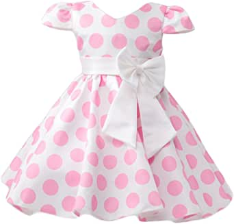 Toddler Girls Cap Sleeve Polka Dots Flower Princess Dress with Ear Headband Outfits for Birthday Party Pageant