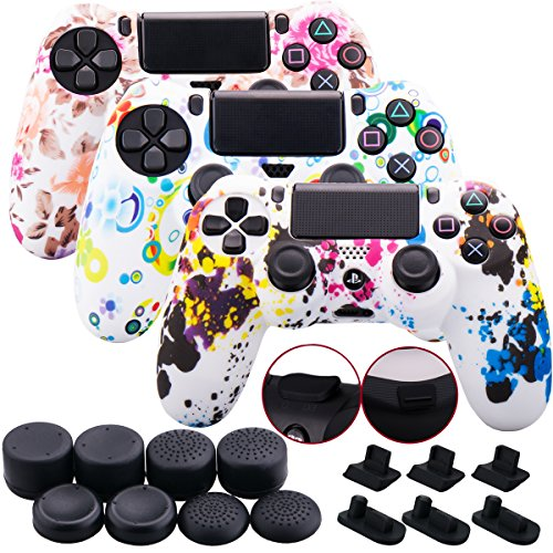 - 9CDeer 3 Pieces of Silicone Water Transfer Protective Sleeve Case Cover Skin + 8 Thumb Grips Analog Caps + 3 sets of dust proof plug for PS4/Slim/Pro Controller, Graffiti 3 Pack