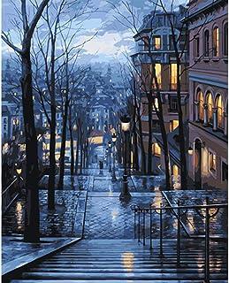 Frameless DIY pittura ad olio da numeri dipinto a mano da parete moderno tela pittura immagine per soggiorno (Silent Street) Frameless GX9434