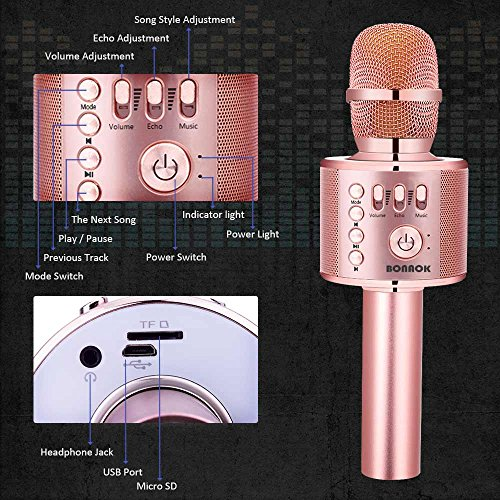 BONAOK Wireless Bluetooth Karaoke Microphone,3-in-1 Portable Handheld karaoke Mic Home Party Birthday Speaker Machine for iPhone/Android/iPad/Sony, PC and All Smartphone(Rose Gold Plus)