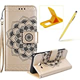 Rope Leather Case for Samsung Galaxy J530 2017,Strap Wallet Case for Samsung Galaxy J530 2017,Herzzer Bookstyle Classic Elegant Mandala Flower Pattern Stand Magnetic Smart Leather Case with Soft Inner for Samsung Galaxy J530 2017 + 1 x Free Yellow Cellphone Kickstand + 1 x Free Yellow Stylus Pen - Gold
