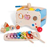 3 in 1 Wooden Educational Set Slide out Xylophone and Pounding Toys with Shape Matching Blocks for Kids