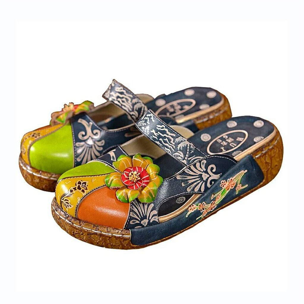 Bao Xing Bei Firm Keil weibliche Sommer Lederpantoffeln weibliche weibliche weibliche Sandalen Sommer Retro Schuhe (Farbe   Blau Größe   41) 947c2e
