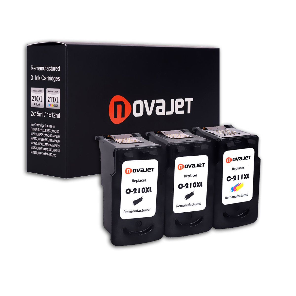 Novajet 3 Pack Remanufactured Ink Cartridge Replacement For Canon PG 210XL & CL 211XL (2 Black,1 Color)Comptaible With Canon PIXMA IP2700 2702 MP240 250 270 280 490 495 499 MX320 MX330 340 350 360