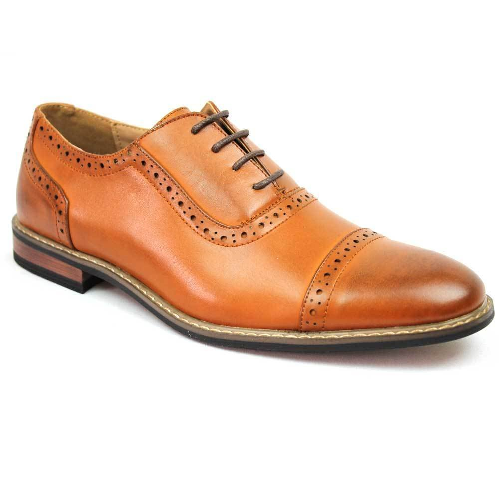 Parrazo New Men's Modern Cap Toe Cognac Brown Lace up Oxfords Wooden 3 (12 U.S (D) M)