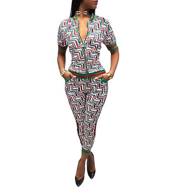 1c40af0a65a73c USGreatgorgeous Women s 2 Piece Zip Up Floral Bodycon Sweatsuit Set Tracksuit  Outfit (S