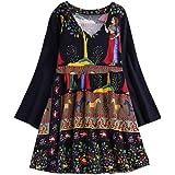 Lazzboy Tops T Shirt Women Boho Ethnic V-Neck UK 8-22 Oversized Plus Size Holiday Hippie Swing Tunic Blouse