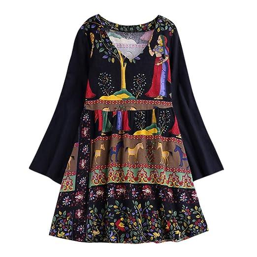 69d6edb5b14 Women Shirt, Spring Fall Vintage Boho Ethnic Pullover Baggy Casual 3/4  Sleeve Cotton