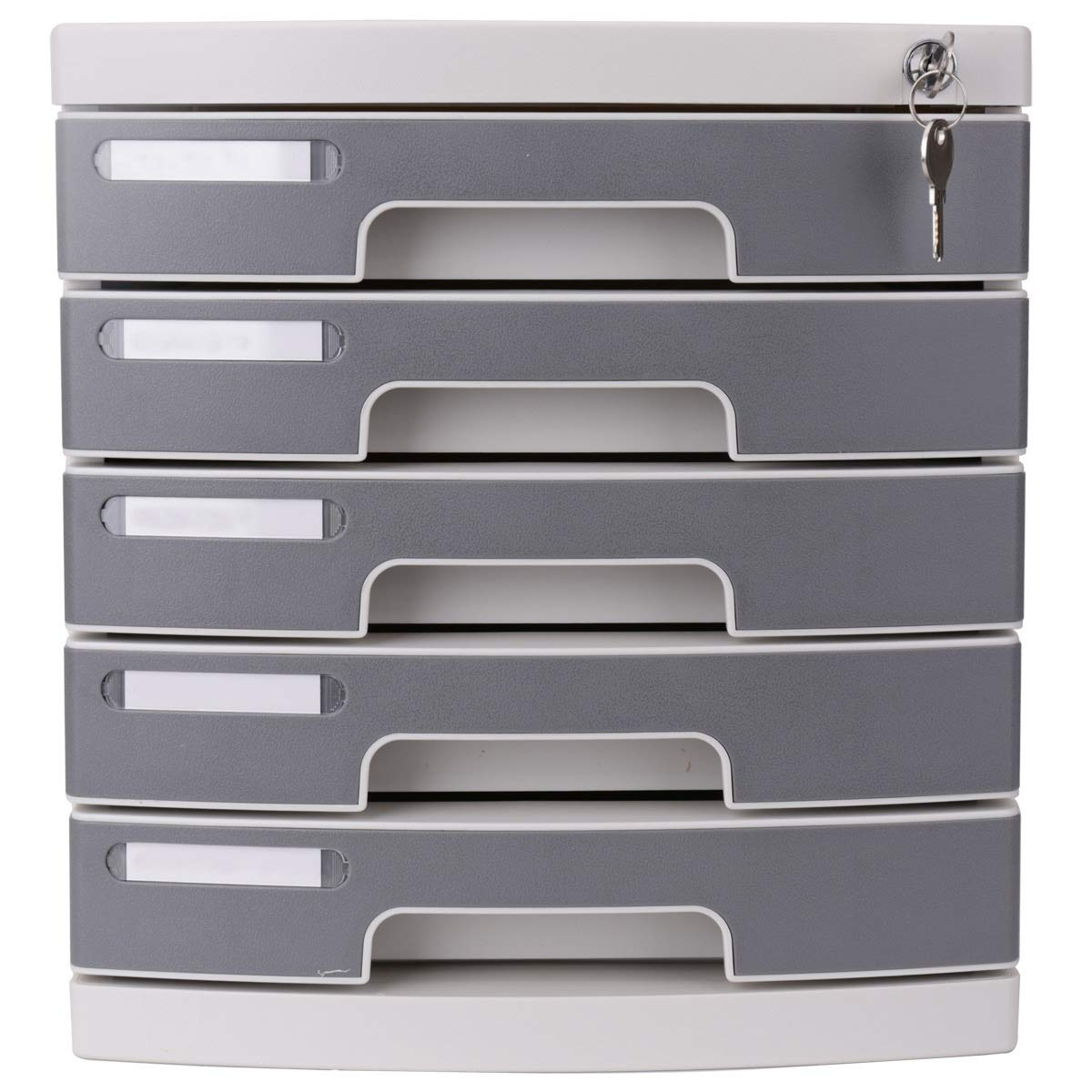 File Cabinet Desktop A4 Plastic Data Cabinet with Lock Drawer Desktop Cabinet File Storage Cabinet Storage Box (Design: 5 Floors) Filing cabinets