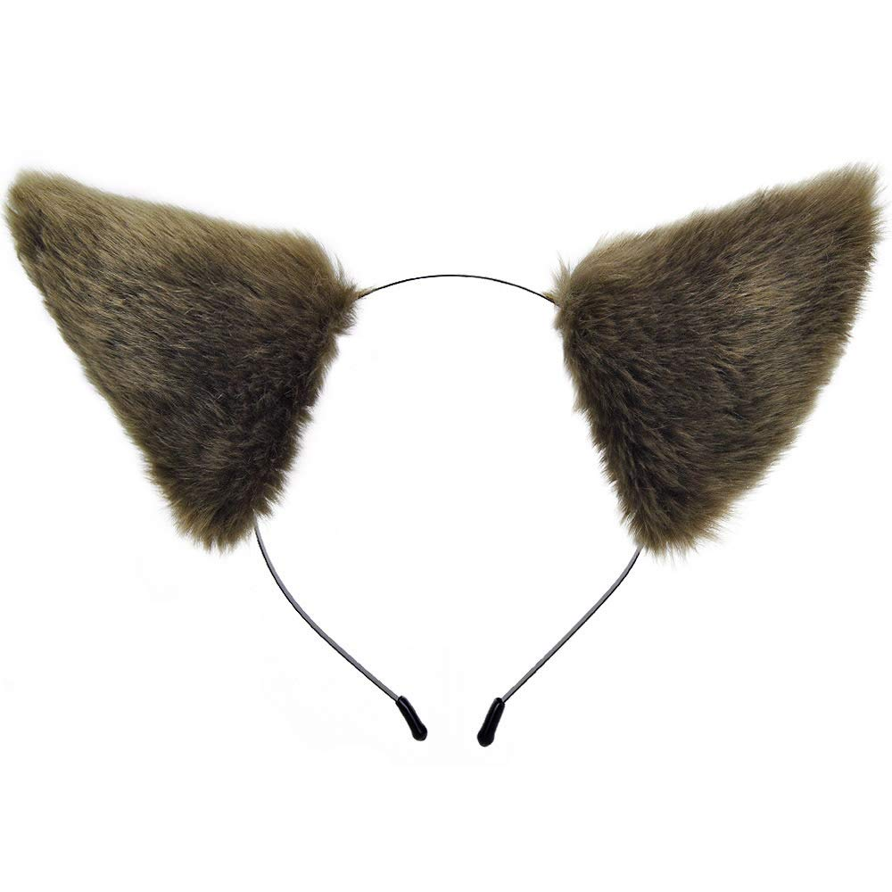 E-TING Cat Fur Ears Hair Clip with Headband Halloween Christmas Anime Party Costume Cosplay Accessories (Brown with Beige inside)