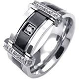 KONOV Mens Cubic Zirconia Stainless Steel Ring, Charm Elegant Wedding Band, Black