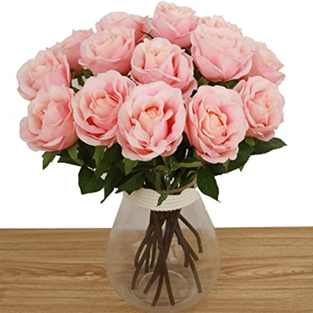 Toechmo Artificial Flowers, Real Touch Silk Flowers Artificial Rose Flowers  Home Decorations For Bridal Wedding