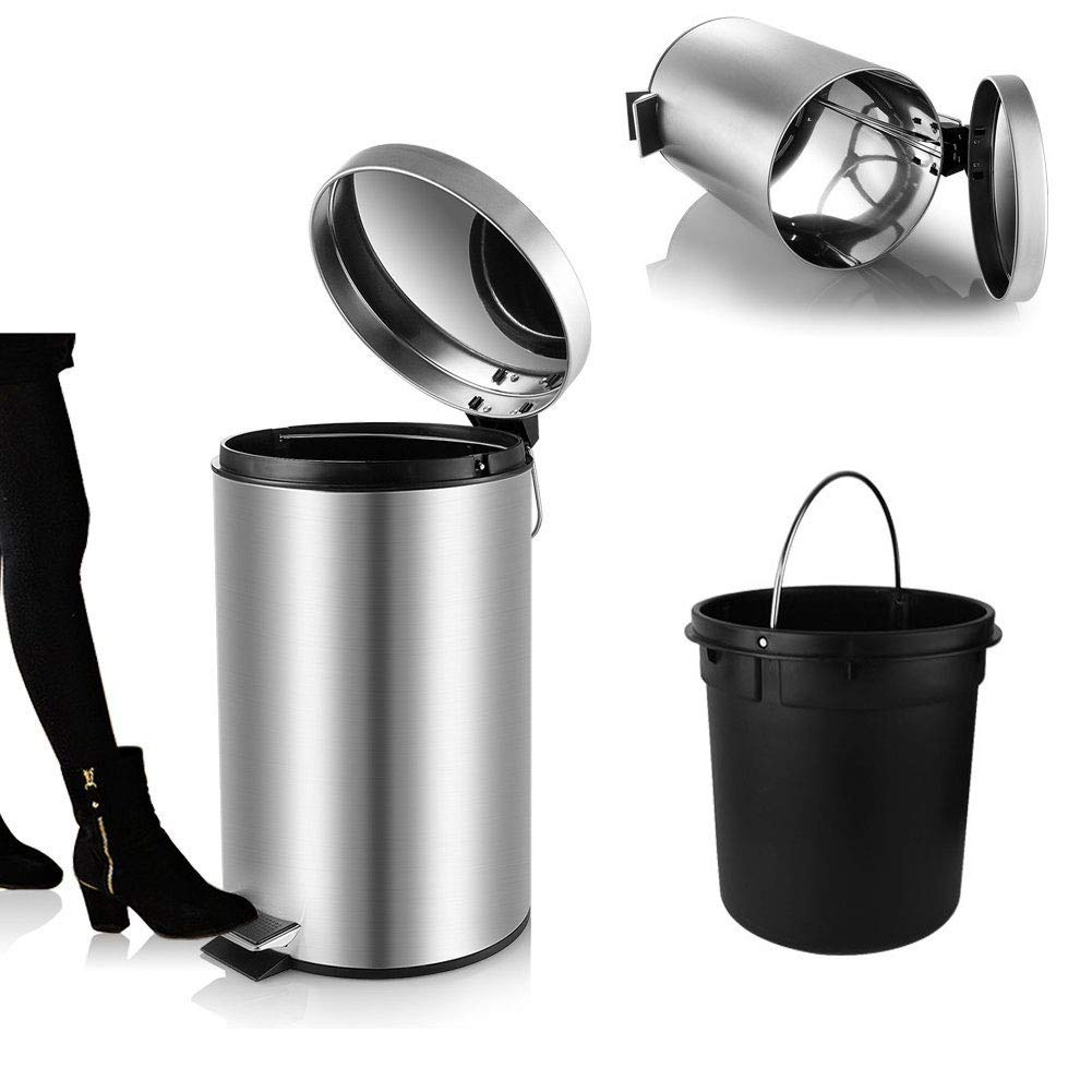 YCTEC Round Mini Trash Can with Lid Soft Close, Bathroom Trash Can with Removable Plastic Inner Wastebasket, Anti-Fingerprint Brushed Stainless Steel Trash Can for Bedroom Office, 0.8 Gal/3 L