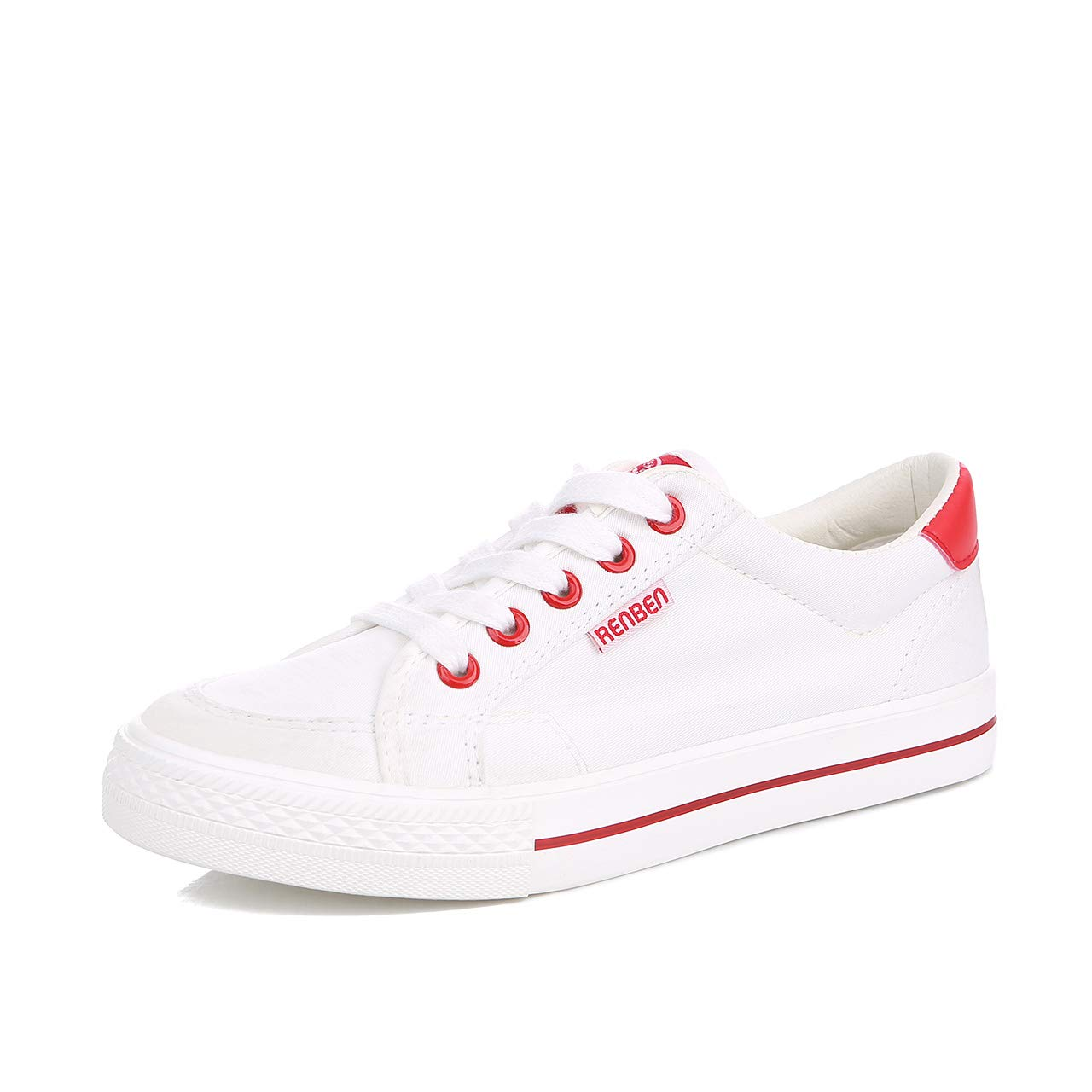 Renben Womens Sneakers Canvas Slip On Flat Low Top Fashion Sneaker Shoes (8 .5 B(M) US, Red)