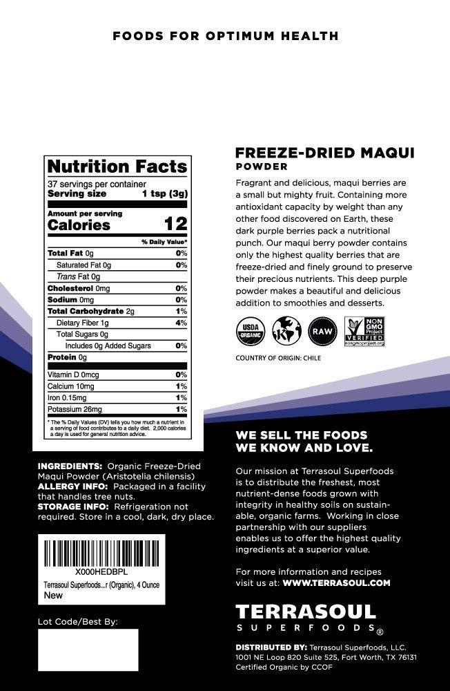 Amazon Com Terrasoul Superfoods Organic Maqui Berry Powder 8 Oz