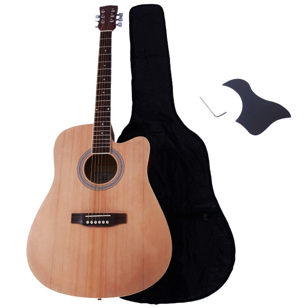 Glarry 41'' Spruce Front Rosewood Fingerboard Cutaway Folk Guitar for Music lovers with Guitar Bag and Accessories include Board and Wrench(Burlywood)…