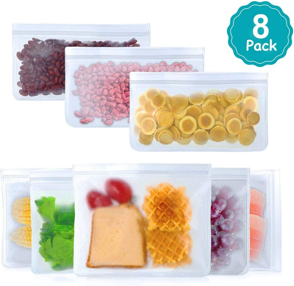 Reusable food Storage Bags Ziplock - 8 Pack Leakproof Freezer Bags Washable, Reusable Snack Bag Lunch Bag for Kids, BPA Silicone and Plastic Free