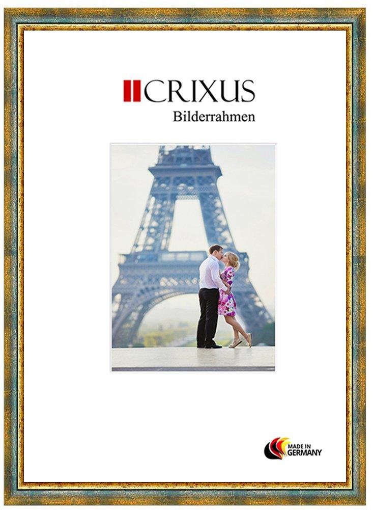 Crixus40 Echtholz Bilderrahmen für für für 90 x 109 cm Bilder, Farbe  Grün Gold, Massivholz Rahmen in Maßanfertigung mit entspiegeltem Acrylglas und MDF Rückwand, Rahmen Breite  40 mm, Aussenmaß  96,9 x 115,9 cm 5295fc
