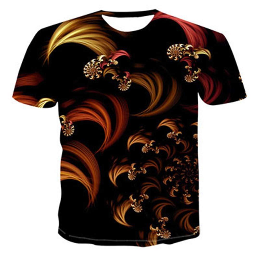 Summer 3D Digital Printing Slim Tops Men Casual Short Sleeve 0-Collar Shirt