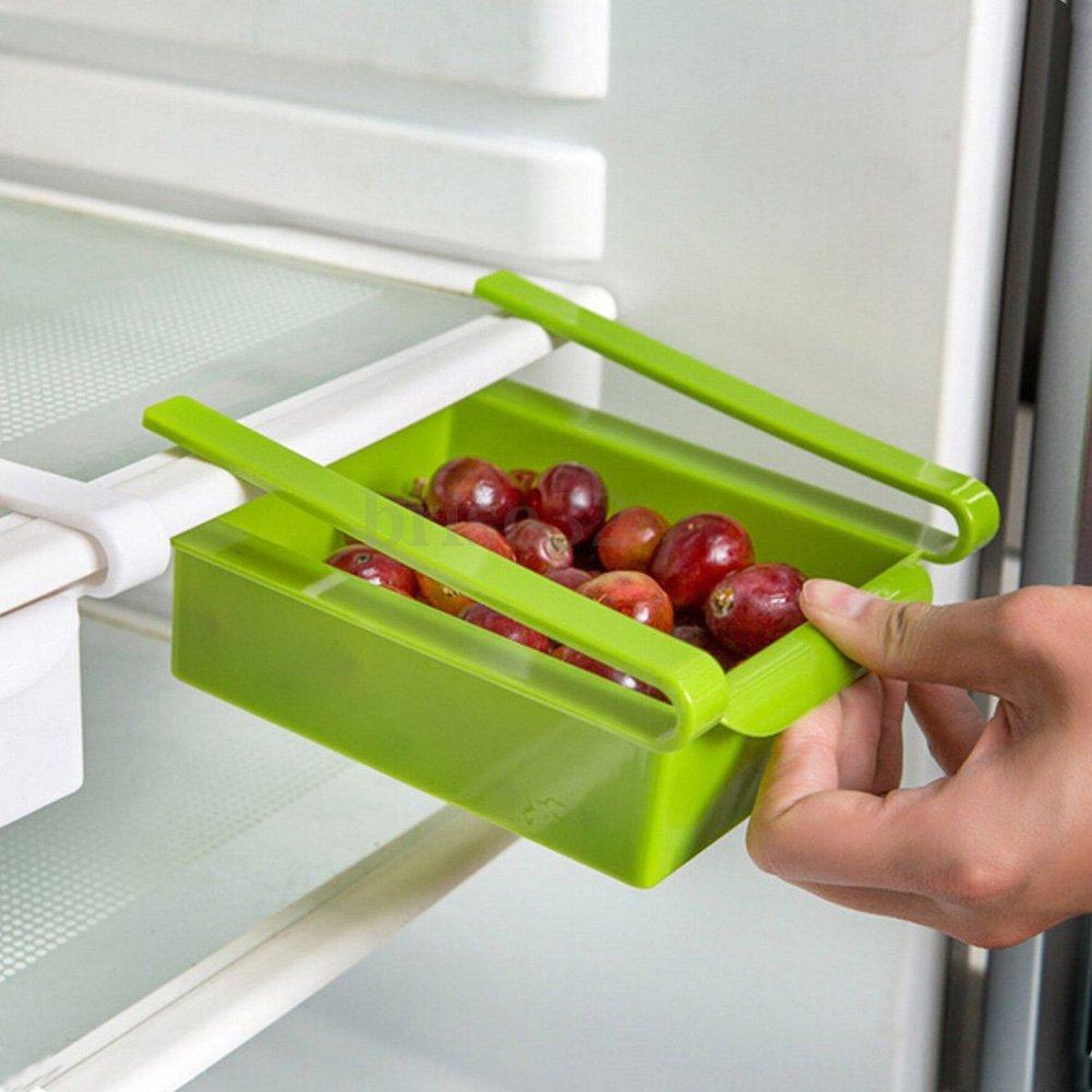 Ahorro de espacio de rack de almacenamiento frigor/ífico  vanpower frigor/ífico congelador caj/ón deslizante estante de organizaci/ón azul