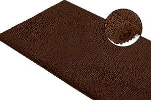 LuxUrux Bath Mat-Extra-Soft Plush Bath Shower Bathroom Rug,1'' Chenille Microfiber Material, Super Absorbent Shaggy Bath Rug. Machine Wash & Dry (21 x 59 Inch, Brown)