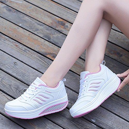 SPEEDEVE Zapatos Mujer de Deporte Suaves Zapatillas Casual Respirables Plataforma B-blanco