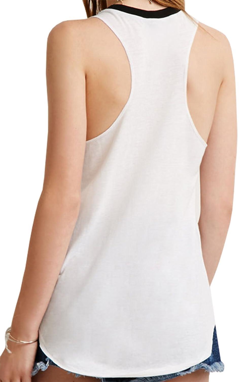 Darceil Womens White Big Red Lip Racerback Camisole Shirt Tank Top
