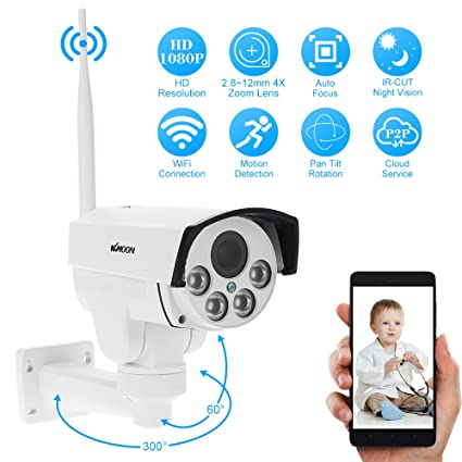 "KKmoon 1080P HD Cámara IP Wifi Domo 2.0MP 1/2.8"" CMOS, PTZ"