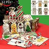 PeeNoke 12 Pack of Christmas Canvas Drawstring Bags Random Assortment for Christmas Party Favors, Treats, Santa Sack Sticking Bags, Christmas Draw String Goodie Bags, Party Favors by Joiedomi