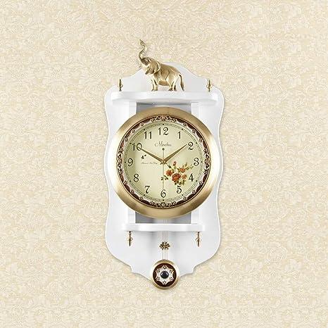 Fengfeng Reloj de Pared, Reloj de péndulo Antiguo Europeo Madera Maciza Campana de Pared Creativo