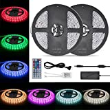 Weksi LED Strip Light,Waterproof LED tape lights 300LEDs 32.8ft 10m Color Changing RGB SMD 5050 LED Light Strip Kit with 44 Keys Remote Controller and 12V 5A Power Supply