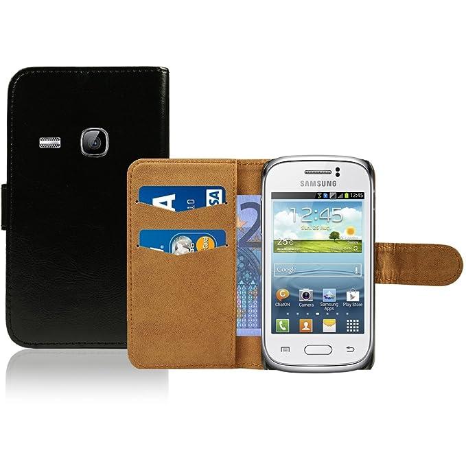 2 opinioni per Samsung Galaxy Young S6310 Custodia in Pelle Premium- Custodia Nero Pu Pelle