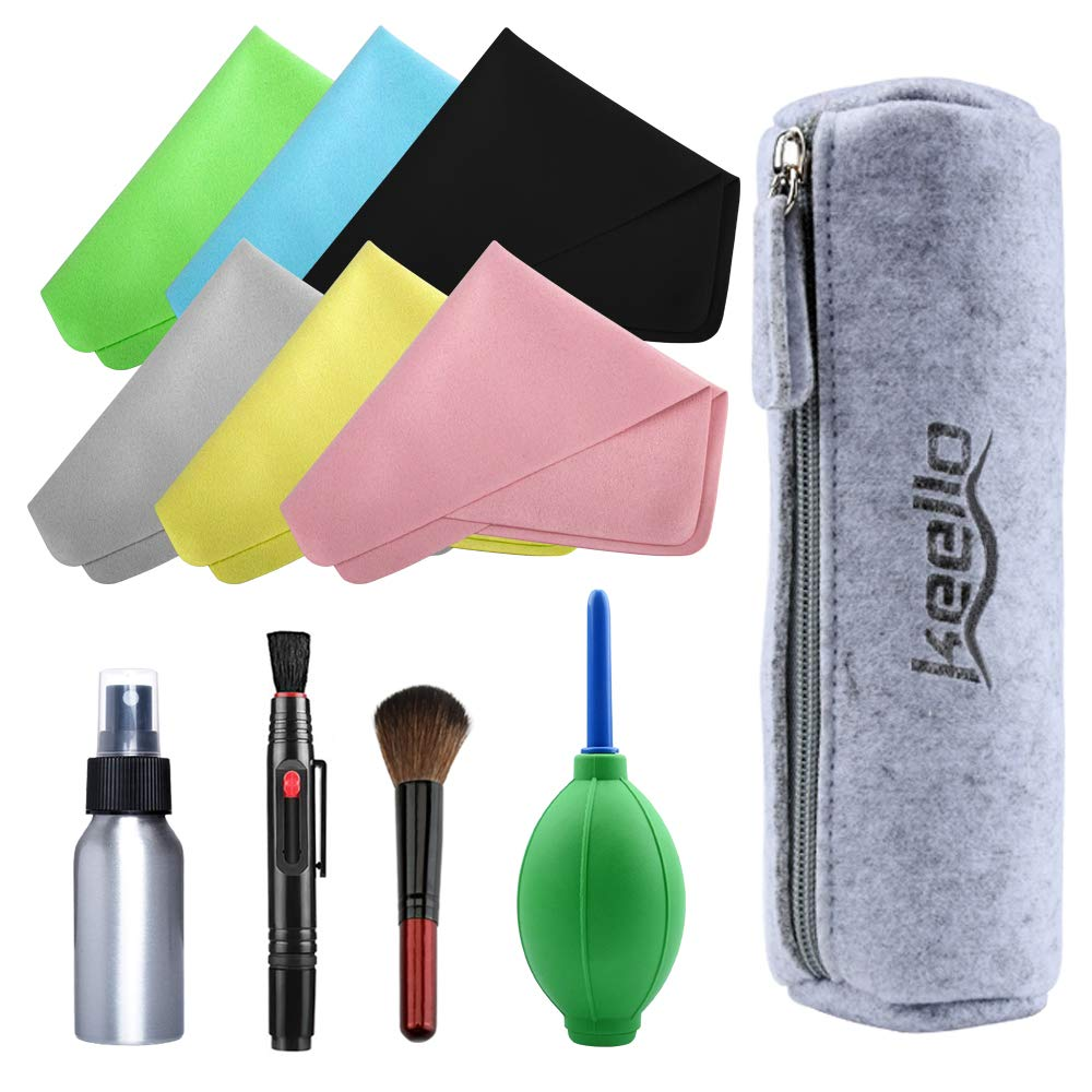 Camera Cleaning Kit Including 1 Double Sided Lens Cleaning Pen / 1 Empty Reusable Aluminum Spray Bottle / 1 Lens Brush / 1 Air Blower / 6 Premium Microfibre Cleaning Cloths Tissue for DSLR, Lens keello
