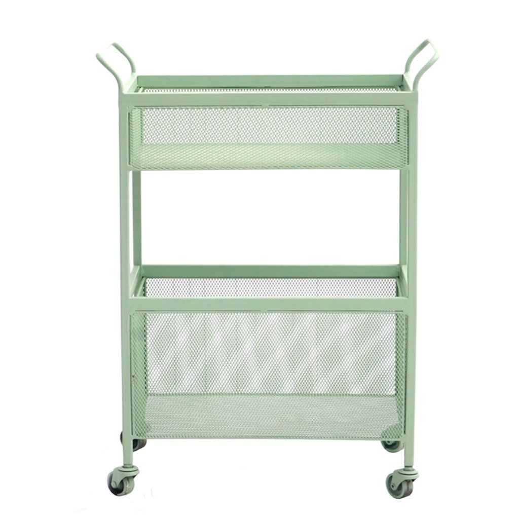 He Xiang Firm Green double store shelves trolley shelves with a pulley handrails floor shelves wrought iron racks living room storage shelves by He Xiang Firm (Image #1)