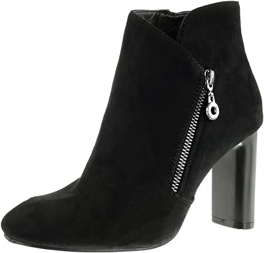 9 Bottine Haut métallique Boots Chaussure Mode Bloc Low Femme Talon Chic Angkorly CM oedBrCxW