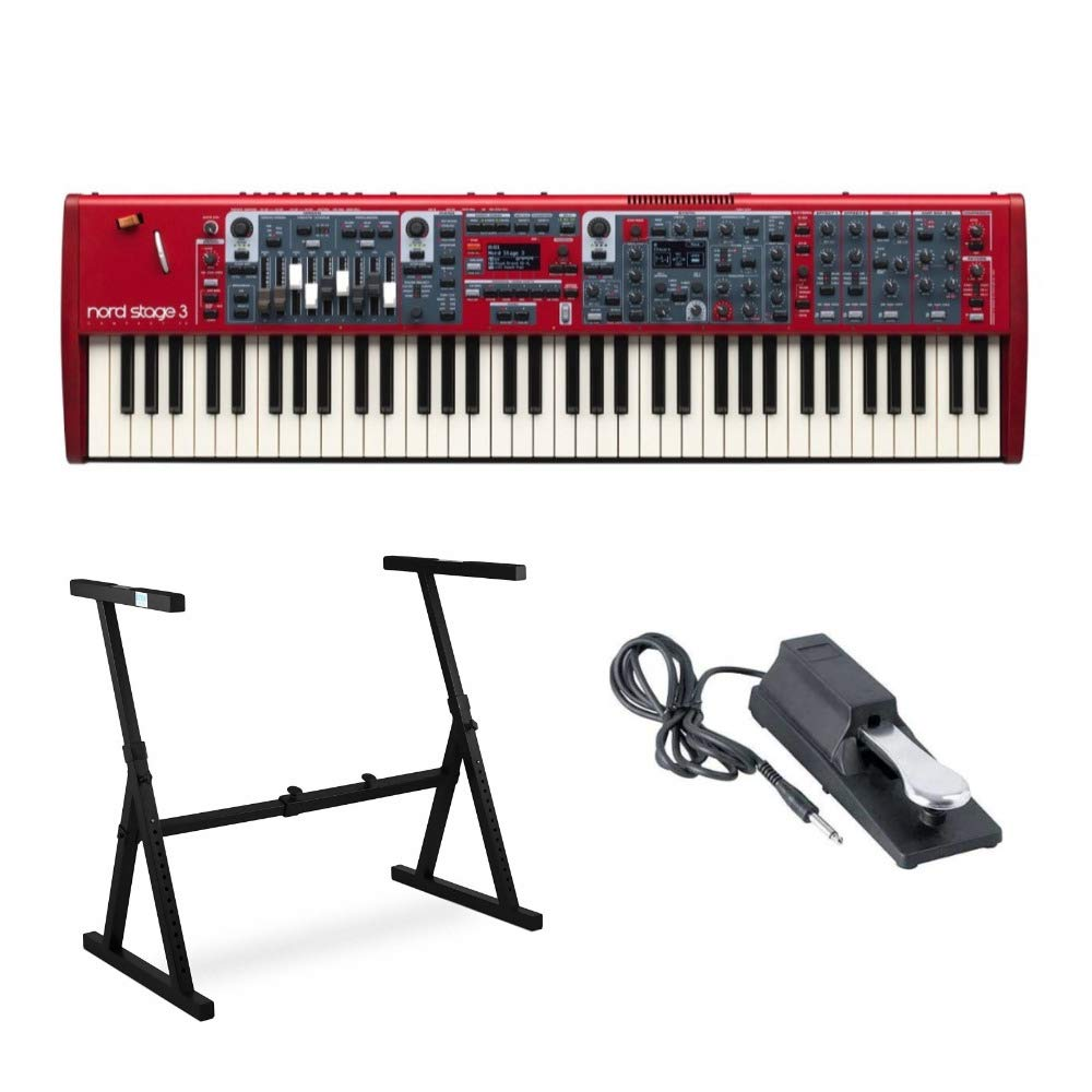 Nord Stage 3 Compact 73 Key Semi-Weighted Keyboard with Physical Drawbars Bundle includes Knox Z-Style Stand and Sustain Pedal by Nord